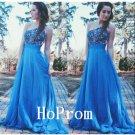 One Shoulder Prom Dress,A-Line Prom Dresses,Blue Evening Dress