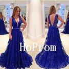 Royal Blue Prom Dress,Floor Length Prom Dresses,Lace Evening Dress