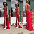 Two Piece Prom Dress,Strapless Prom Dresses,Red Evening Dress