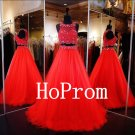 Two Piece Prom Dress,Red Tulle Prom Dresses,Long Evening Dress