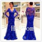 V-Neck Prom Dress,Long Sleeve Prom Dresses,Lace Evening Dress