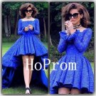 High Low Prom Dress,Long Sleeve Prom Dresses,Lace Evening Dress