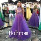 Light Purple Prom Dress,High Neck Prom Dresses,Tulle Evening Dress