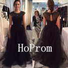 Cap Sleeve Prom Dress,Black Prom Dresses,Beading Evening Dress