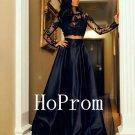 Two Piece Prom Dress,Long Sleeve Prom Dresses,Black Evening Dress