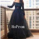 Lace Tulle Prom Dress,Black Prom Dresses,Long Evening Dress