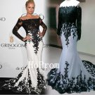 White Mermaid Prom Dress,Black Applique Prom Dresses,Long Evening Dress