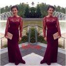 Burgundy Lace Prom Dress,Long Sleeve Prom Dresses,Evening Dress