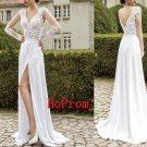White  Long Prom Dress,V-Neck Prom Dresses,Evening Dress