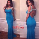 Blue Beaded Prom Dress,Sheath Prom Dresses,Long Evening Dress