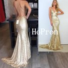 Spaghetti Straps Prom Dress,V-Neck Prom Dresses,Evening Dress