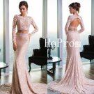 Sweep Train Prom Dress,Lace Prom Dresses,Pink Evening Dress