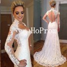 White Lace Prom Dress,Long Prom Dresses,Lace Evening Dress