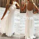 Backless Prom Dress,White Prom Dresses,Long Evening Dress