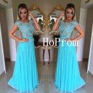 Cap Sleeve Prom Dress,Blue Prom Dresses,Long Evening Dress