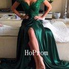 Sweep Train Prom Dress,Dark Green Prom Dresses,Long Evening Dress