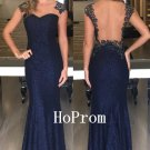 Navy Blue Prom Dress,Lace Prom Dresses,Long Evening Dress