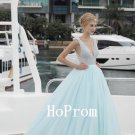 V-Neck Prom Dress,Sleeveless Prom Dresses,Long Evening Dress