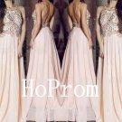 Long Halter Prom Dress,A-Line Prom Dresses,Beading Evening Dress