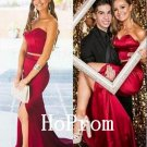 Strapless Red Prom Dress,Long Prom Dresses,Red Evening Dress