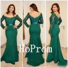Green Long Prom Dress,Lace Satin Prom Dresses,Sheath Evening Dress