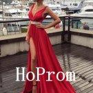 V-Neck Prom Dress,Red Prom Dresses,Long Evening Dress