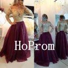 Appique Gold Prom Dress,Long Sleeve Prom Dresses,Long Evening Dress