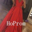 V-Neck Prom Dress,Red Prom Dresses,Satin Evening Dress
