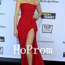 Simple Chiffon Prom Dress,Red Prom Dresses,Strapless Evening Dress