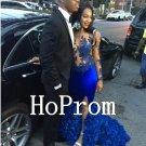 Royal Blue Prom Dress,Applique Prom Dresses,Long Evening Dress