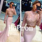 Pink Mermaid Prom Dress,High Neck Prom Dresses,Long Evening Dress