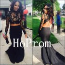 Two Piece Prom Dress,Black Lace Prom Dresses,Long Evening Dress