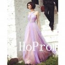 Light Purple Prom Dress,Halter Prom Dresses,Chiffon Evening Dress