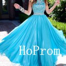 Sleeveless Prom Dress,Blue Tulle Prom Dresses,Long Evening Dress