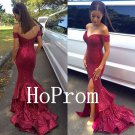 Off Shoulder Prom Dress,Sequinded Prom Dresses,Long Evening Dress
