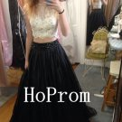 Two Piece Prom Dress,Sleeveless Prom Dresses,Long Evening Dress