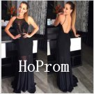 Open Back Prom Dress,Black Prom Dresses,Long Evening Dress