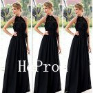A-Line Prom Dress,Halter Prom Dresses,BlackEvening Dress