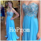 Sweetheart Prom Dress,A-Line Prom Dresses,Blue Evening Dress