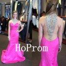 Hot Pink Prom Dress,High Neck Prom Dresses,Evening Dress