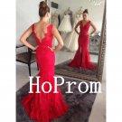 Front Slit Prom Dress,Mermaid Red Prom Dresses,Evening Dress