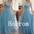 Light Blue Prom Dress,Sleeveless Prom Dresses,Evening Dress