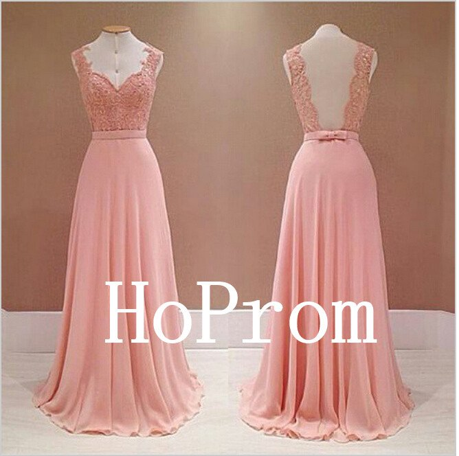 Pink Backless Prom Dress,Chiffon Prom Dresses,Evening Dress
