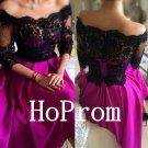 Off Shoulder Prom Dress,Black Lace Prom Dresses,Evening Dress