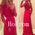 Long Sleeve Prom Dress,Red Prom Dresses,Evening Dress