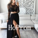 O-Neck Prom Dress,Black Lace Prom Dresses,Evening Dress