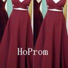 Spaghetti Straps Prom Dress,Burgundy Prom Dresses,Evening Dress