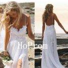 White Lace Prom Dress,Spaghetti Straps Prom Dresses,Evening Dress
