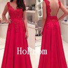 Red Lace Prom Dress,Sleeveless Prom Dresses,Evening Dress