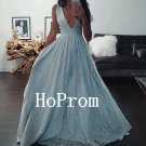 Sexy V-Neck Prom Dress,Sleeveless Prom Dresses,Evening Dress